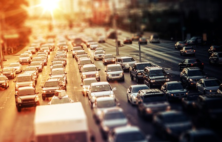 Highway Traffic at Sunset. Tilt Shift Concept Photo. Traffic in Las Vegas Nevada, USA.